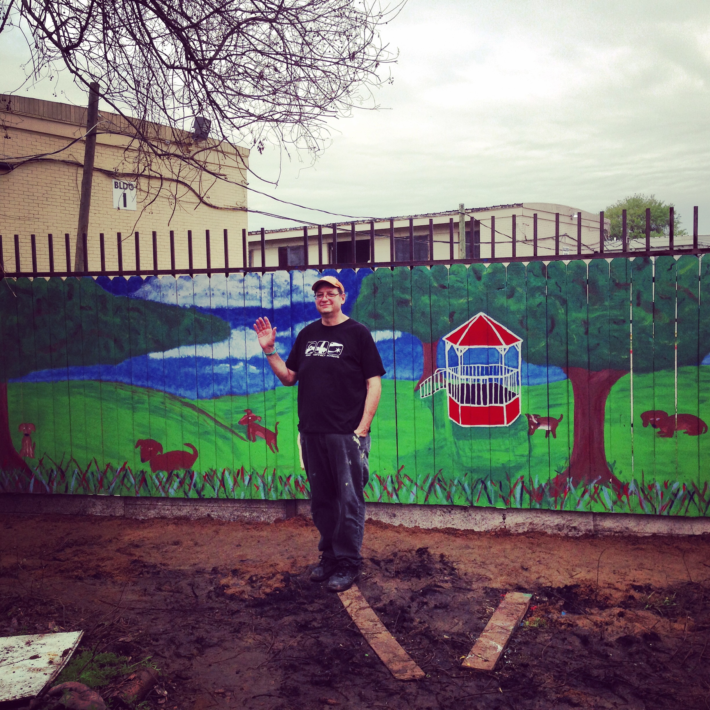 Barrio Dog Mural , student service project. Lawndale St Houston Texas