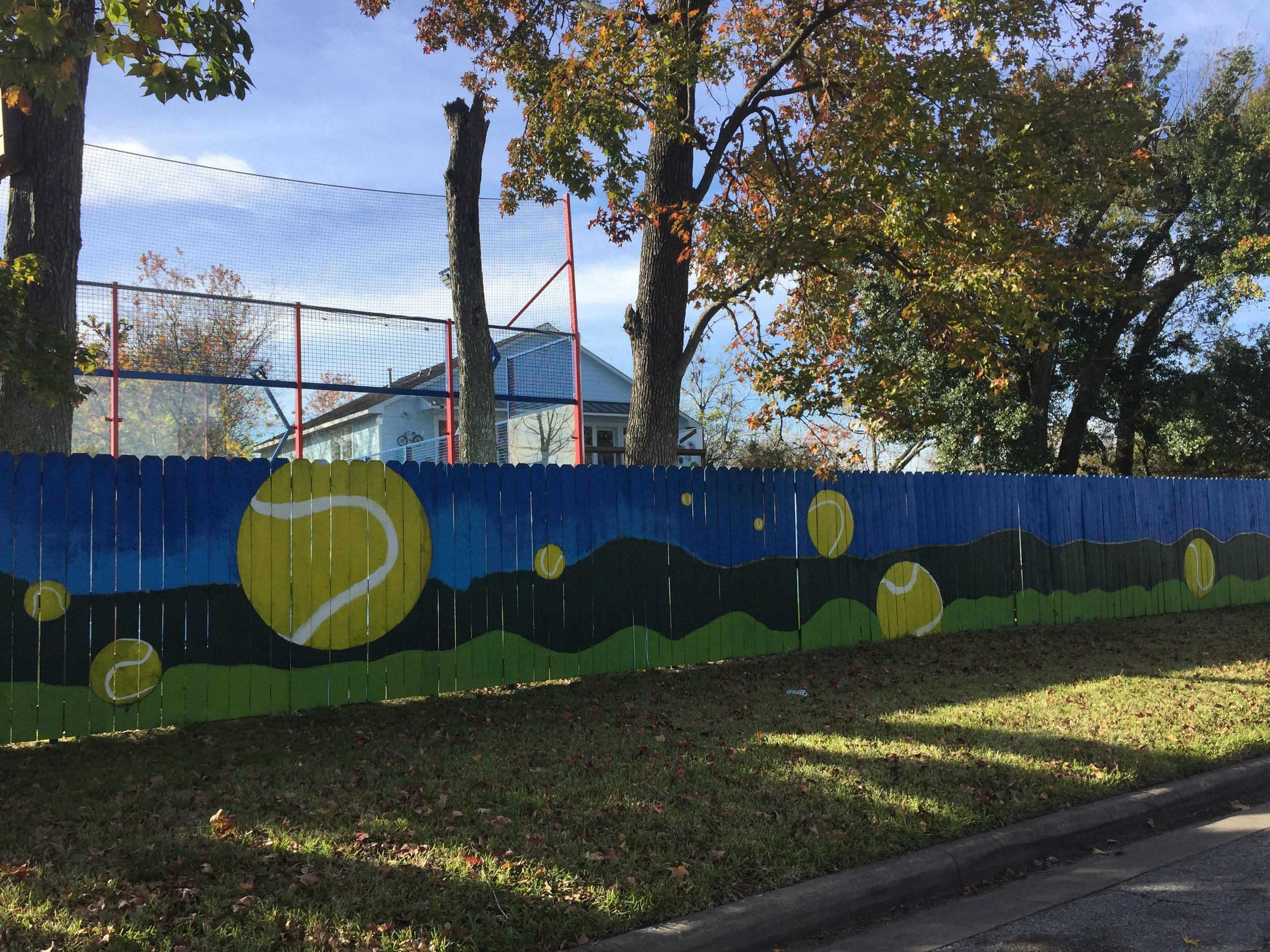 Sports complex Tennis Ball Mural. Student project