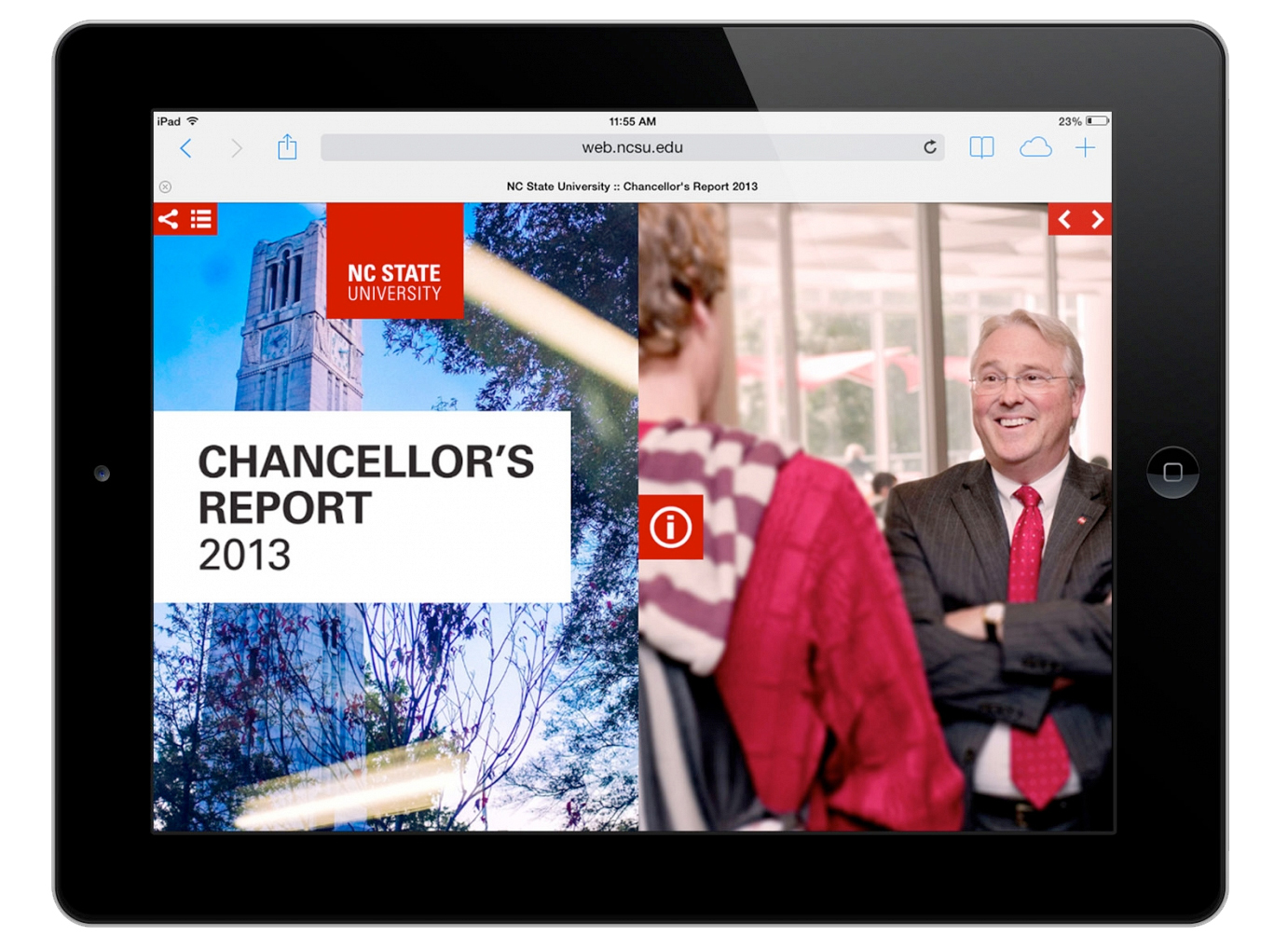 The unusual horizontal navigation of the digital report displays especially well on tablet readers.