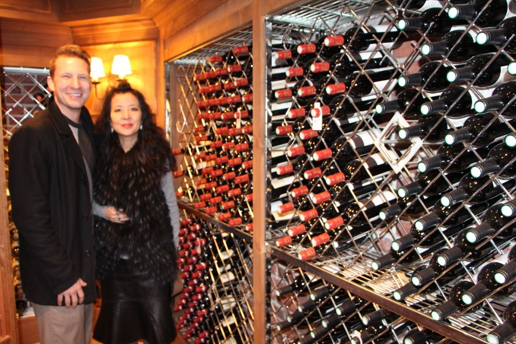 Above: Jason Gibbons and Lili Shang admire the cellars.