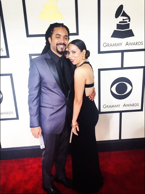 "Dynamic musical duo Crystal ""RØVÉL"" Torres & Michael Law Thomas on the red carpet at the 2014 Grammy Awards.  (source: Bucks County Courier Times)"