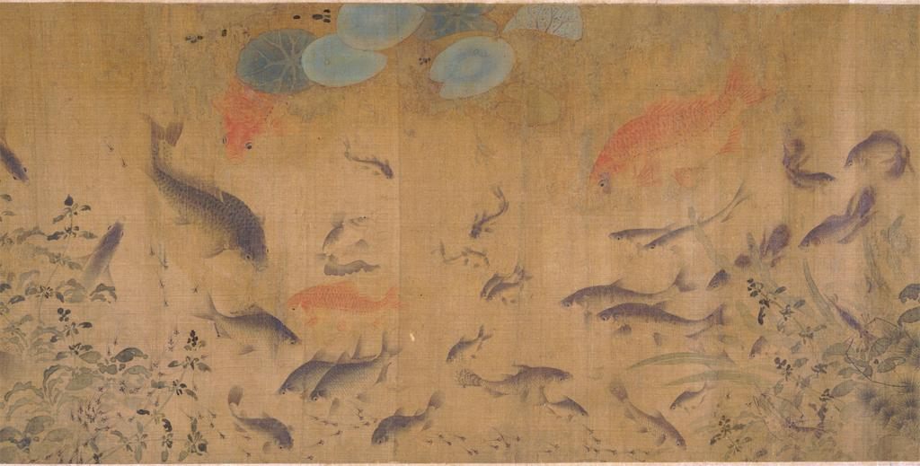 Three golden carp and several silvery-grey carp in a pond of mercy from  Fish Swimming Amid Falling Flowers , a Song dynasty painting by Liu Cai (c.1080–1120)