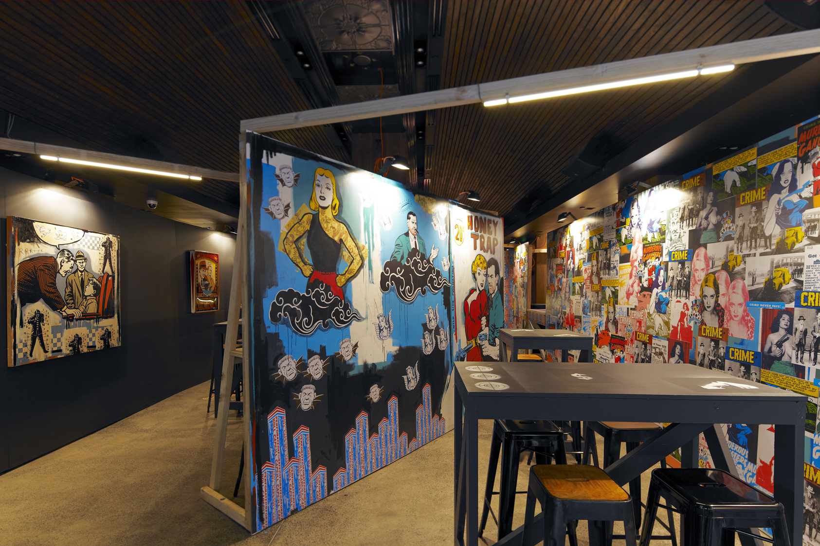 Franck Gohier's  paintings and site specific new work commissioned by Justin Hemmes for Merivale's WIP (Work in Progress) Bar, 2014. Image courtesy and © the artist and Merivale. Photo: My Media Sydney