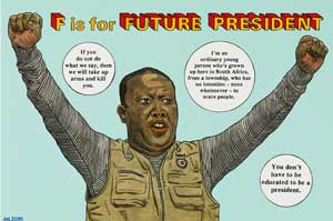 Anton Kannemeyer , F is for Future President , from the Alphabet of Democra-cy series,2010,Imagecourtesy  Stevenson, Cape Town and J  ohannesburg© the artist