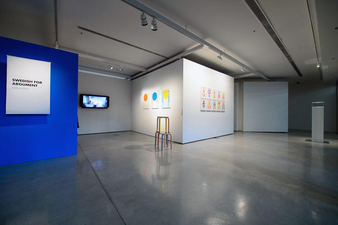 Swedish for Argument installation viewwith work by Lorenzo Bravi (centre) and Tony Schwensen (left). Photo: David Lawrey