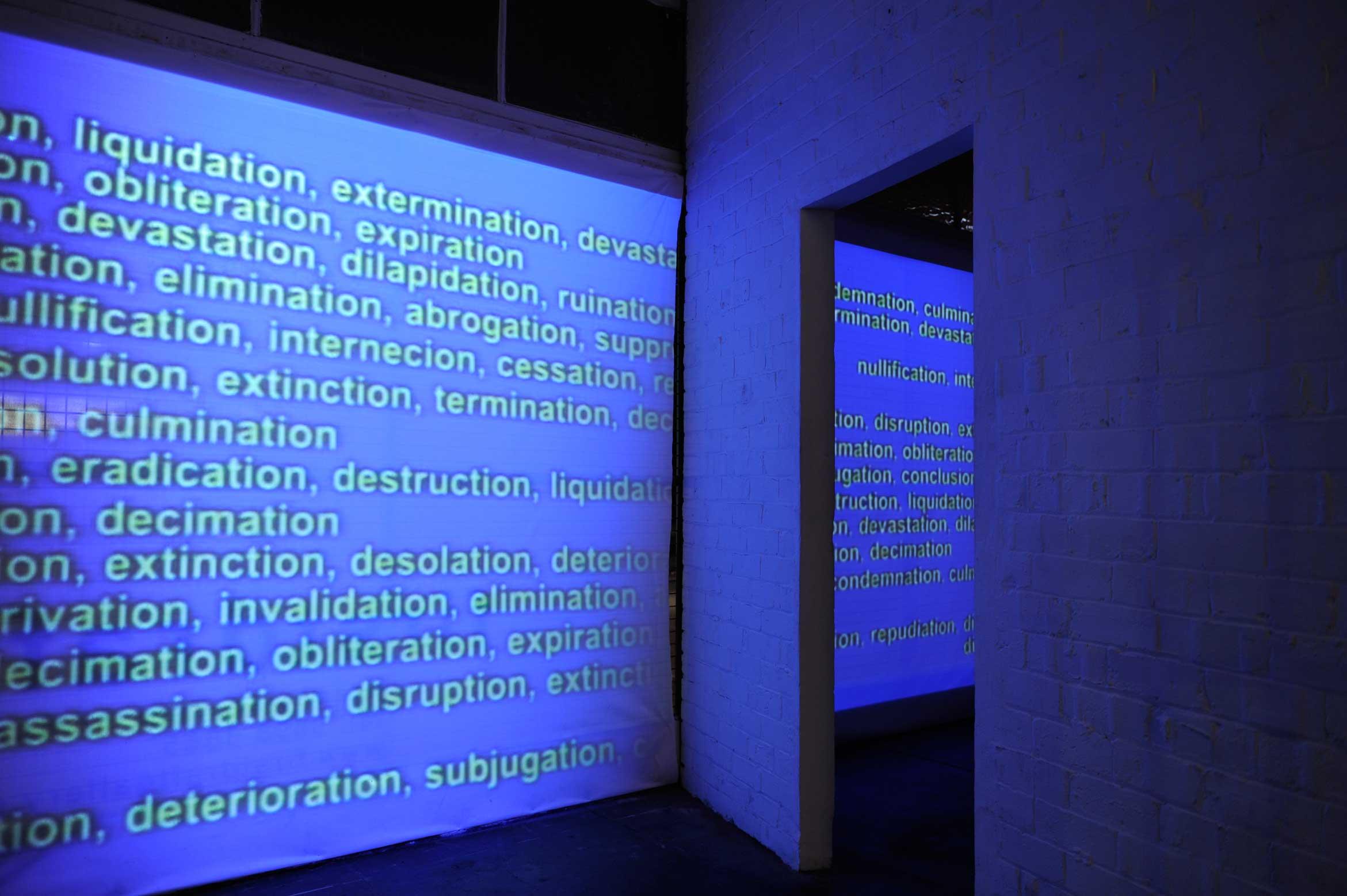 Joaquin Segura, Annihilation , 2007. Installation view,  Names and Places ,Firstdraft, Sydney, 2009.Image courtesy and© the artist. Photo: Ella Condon
