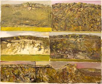 John R Walker  ,  Six Days at Bundanon and I Give Thanks to Boyd  , 2001, oil on canvas, 183 x 221 cm.Image courtesy Utopia Art Sydney   © the artist.