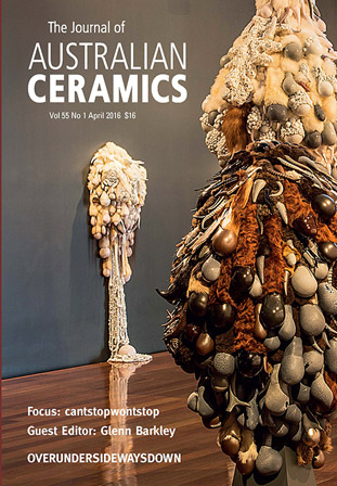 Journal of Australian Ceramics (cover: Juz Kitson) vol 55 no 1, 2016