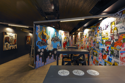 Franck Gohier's paintings and site specific new work commissioned by Justin Hemmes for Merivale's WIP (Work in Progress)Bar, 2014. Image courtesy and ©the artist and Merivale. Photo: My Media Sydney