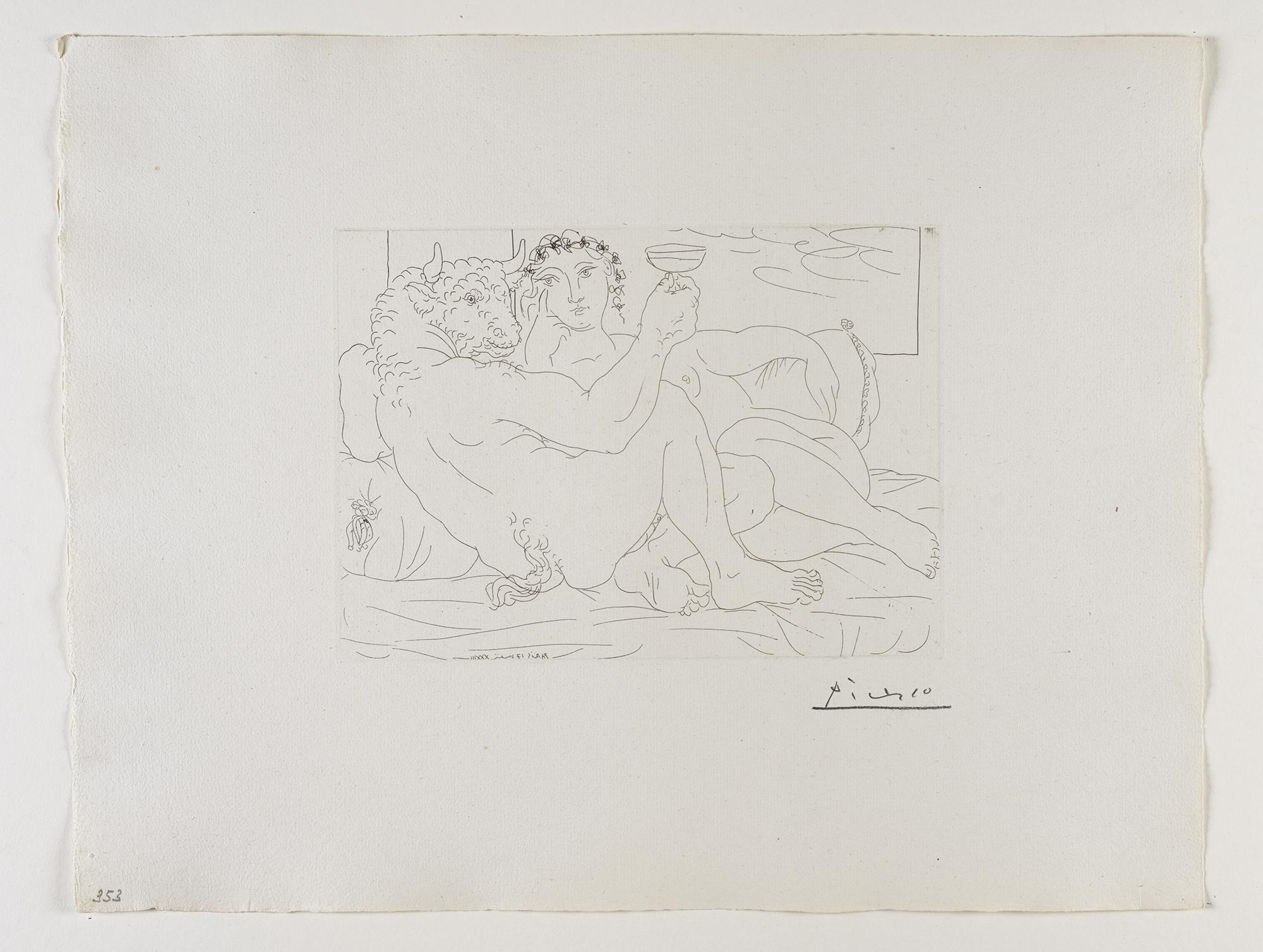 Le Repos du Minotaure : Champagne et Amante    恬靜的  ⽶米諾陶洛斯:⾹香檳與愛⼈人   Etching, 1933 /Bloch 190; Baer 349 only state, B.c (of B.d.); S.V. 83; HP 353  Image Size : 19.8 x 27.0 cm (7.8 x 10.63 in)  Sheet Size : 38.5 x 49.9 cm (15.16 x 19.65 in)
