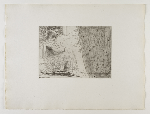 Marie-Thérèse, en Vestale, veillant le Minotaure endormi    Marie-Therese  就如維納斯⼥女神般看著沉睡的  ⽶米諾陶洛斯⼈人  ⾝身⽜牛頭怪   Etching, 1933 /Bloch 193; Baer 352 third state of three, III.B.c (of III.B.d); S.V. 86  Stamped on the reverse 'H.P SV'.  Image Size : 19.2 x 26.8 cm (7.56 x 10.55 in)   Sheet Size : 38.2 x 50.4 cm (15.04 x 19.84 in)