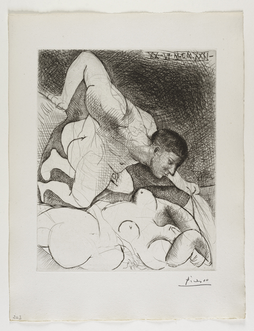 Homme dévoilant une Femme    男⼦子窺看⼥女⼦子   Drypoint, 1931  Bloch 138; Baer 203 second state of two, II.B.c (of II.B.d); S.V.  Image Size : 36.6 x 30.0 cm (14.41 x 11.81 in)  / Sheet Size : 50.1 x 38.5 cm (19.72 x 15.16 in)