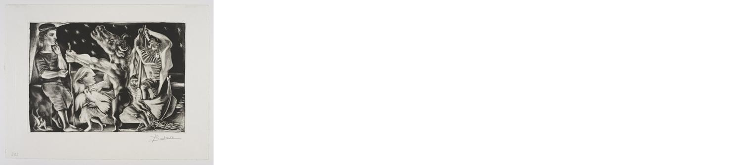 Minotaure aveugle guidé par Marie-Thérèse au   Pigeon dansune Nuit etoilée    抱著⽩白鴿的  Marie-Therese  在星夜領著瞎眼的  ⽶米諾陶洛斯   Aquatint, scraper, burnisher and burin, 1934  Bloch 225; Baer 437 fourth state of four, IV.B.d (of IV.B.d.); S.V.97; HP 383  Image Size : 25.1 x 34.6 cm (9.88 x 13.62 in)  Sheet Size : 33.7 x 44.3 cm (13.27 x 17.44 in)