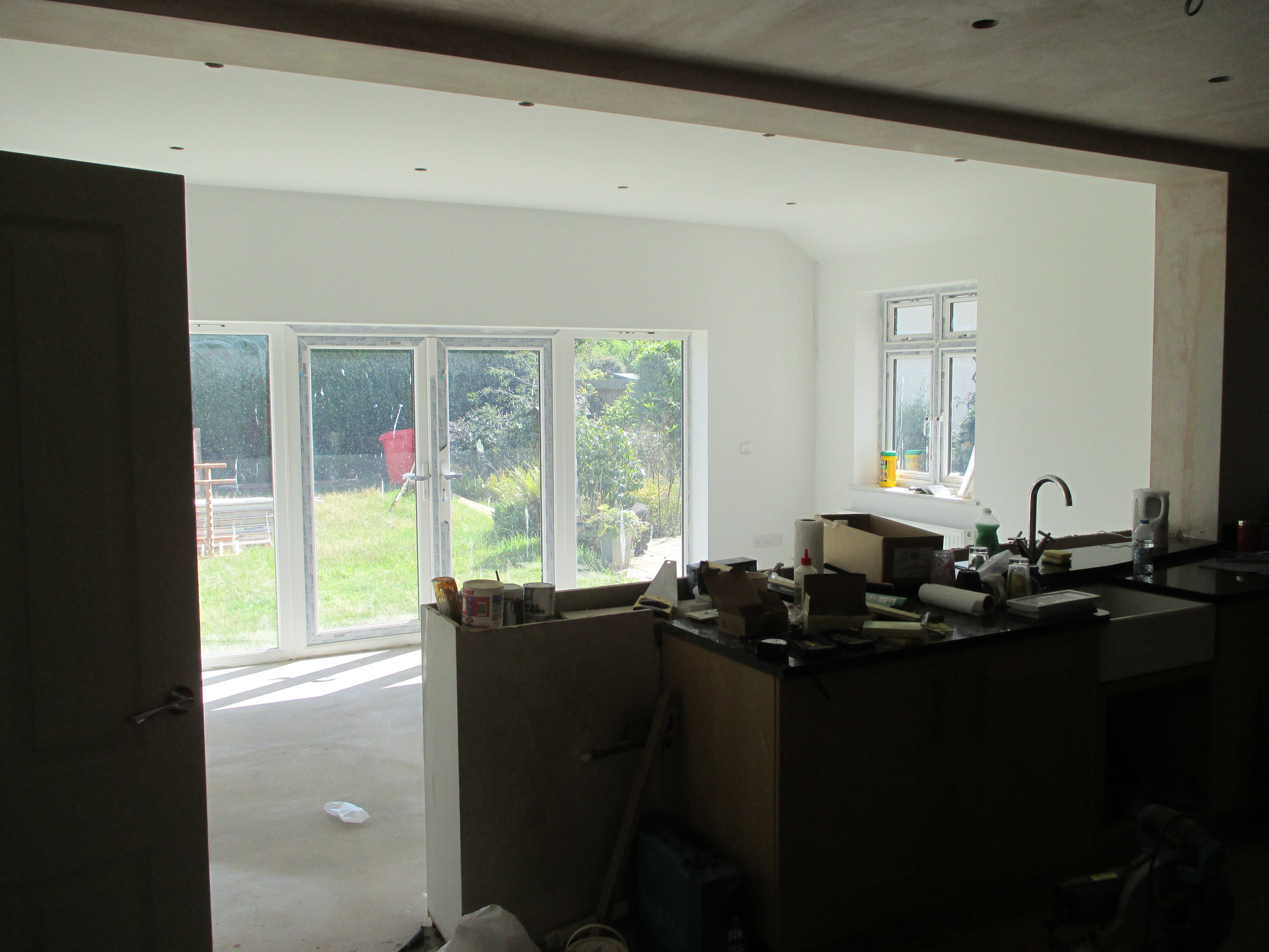 Conversion in Progress - Old kitchen now opening into new breakfast / garden room