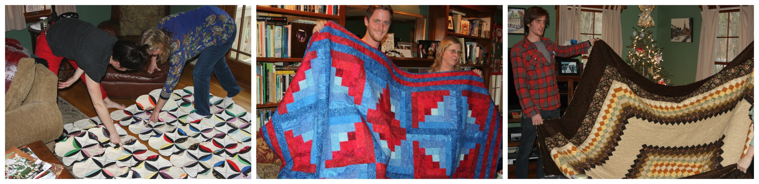 Meghan, Kevin, and Peter seeing their quilts for the first time.