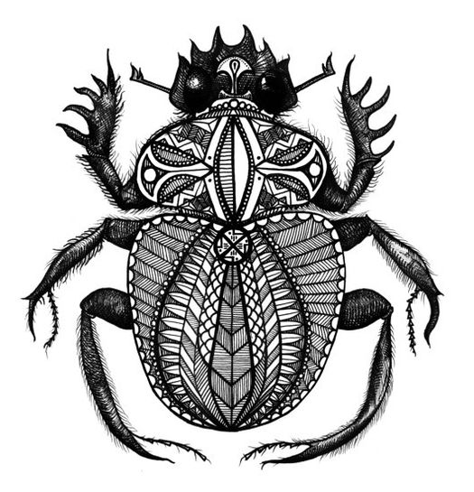 Egyptian Patterned Scarab Dung Beetle
