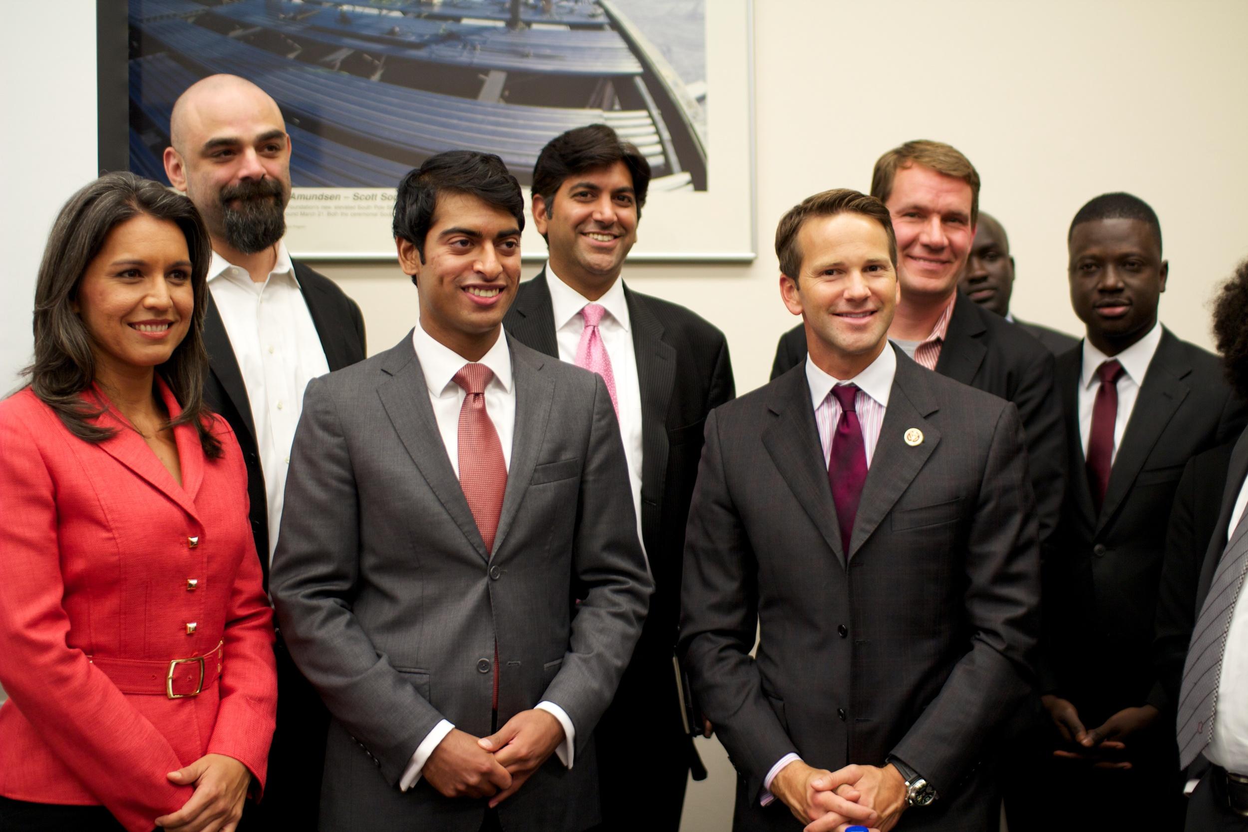 From left: Rep. Tulsi Gabbard (D-HI); John Stanton; Steven Olikara; Aneesh Chopra; Rep. Aaron Schock (R-IL); and Scott Case.