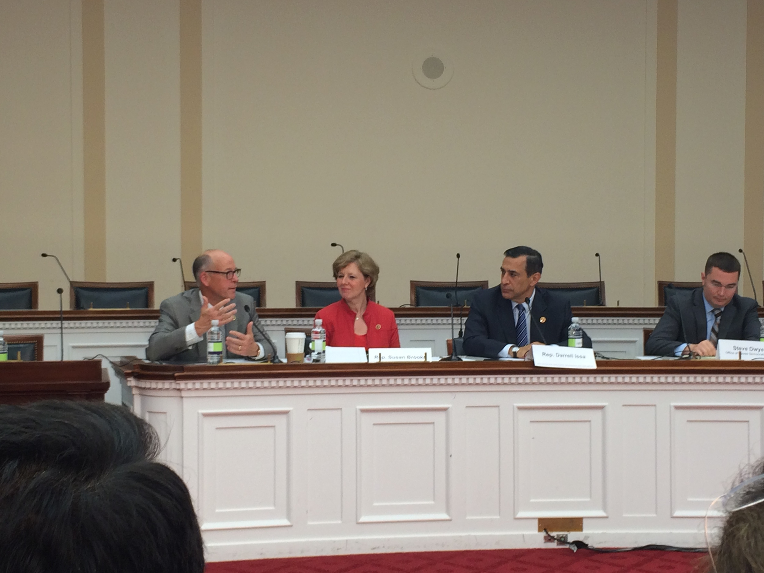 Reps. Greg Walden (R-OR), Susan Brooks (R-IN) and Darrell Issa (R-CA) sit among Congressional staffers at the final #Hack4Congress event.