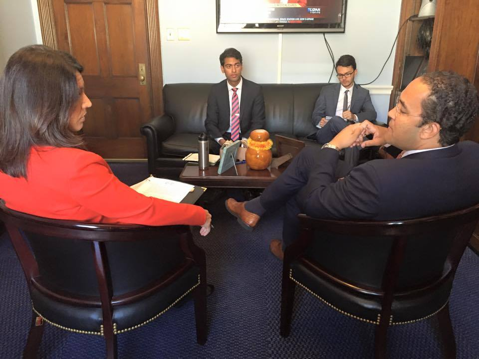 Photo Credit: Office of Congressman Will Hurd—Behind the scenes of MAP's President Steven Olikara's (center) meeting withCongressional Future Caucus Co-Chairs Rep. Gabbard (left) and Rep. Hurd (right) discussingthe caucus' millennial-focused agenda.