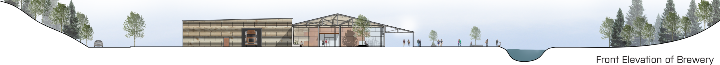 SITE SECTION AND FRONT ELEVATION OF THE BREWERY