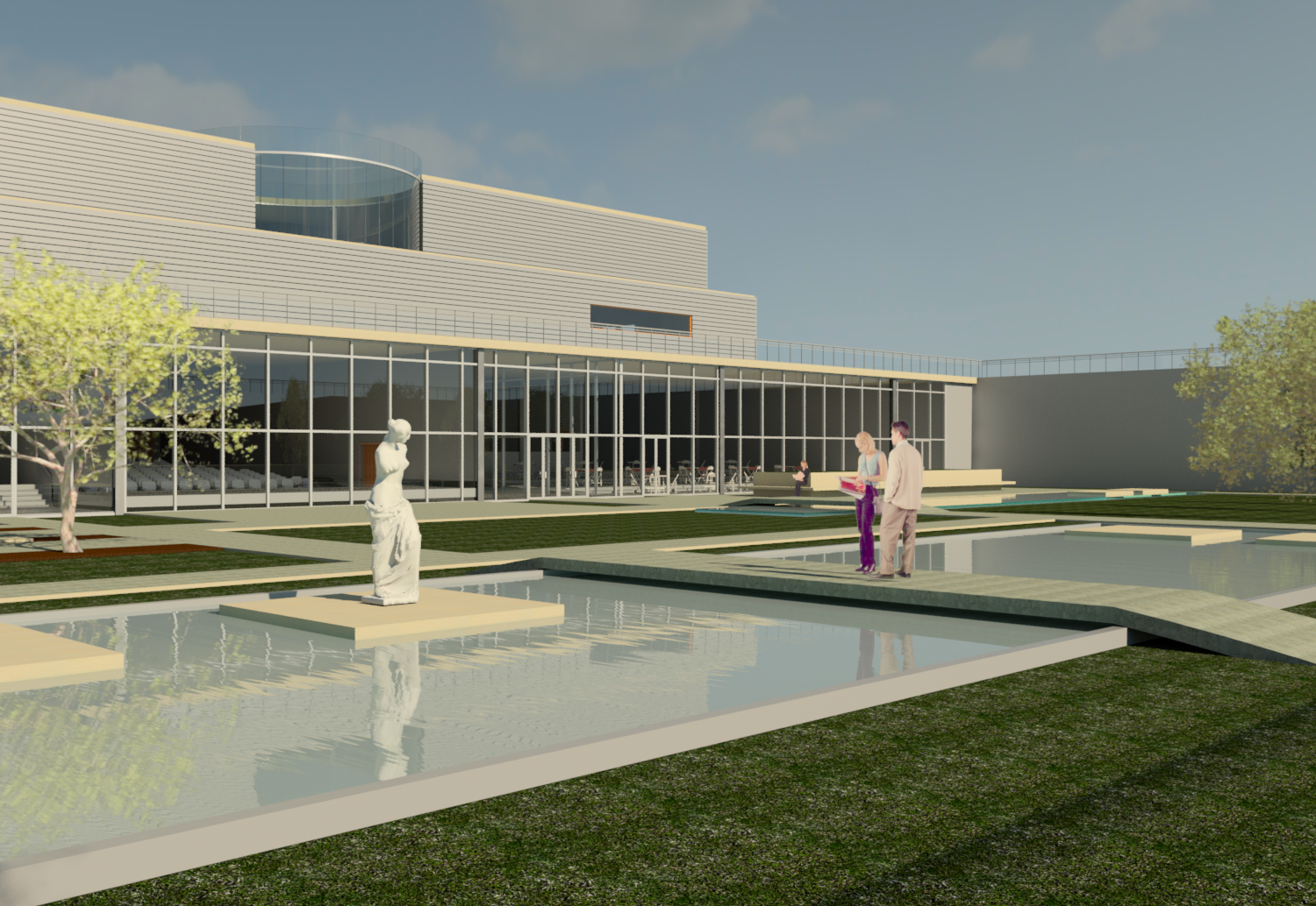 Rendering of the Lowered Sculpture Garden as an Extension of the Museum