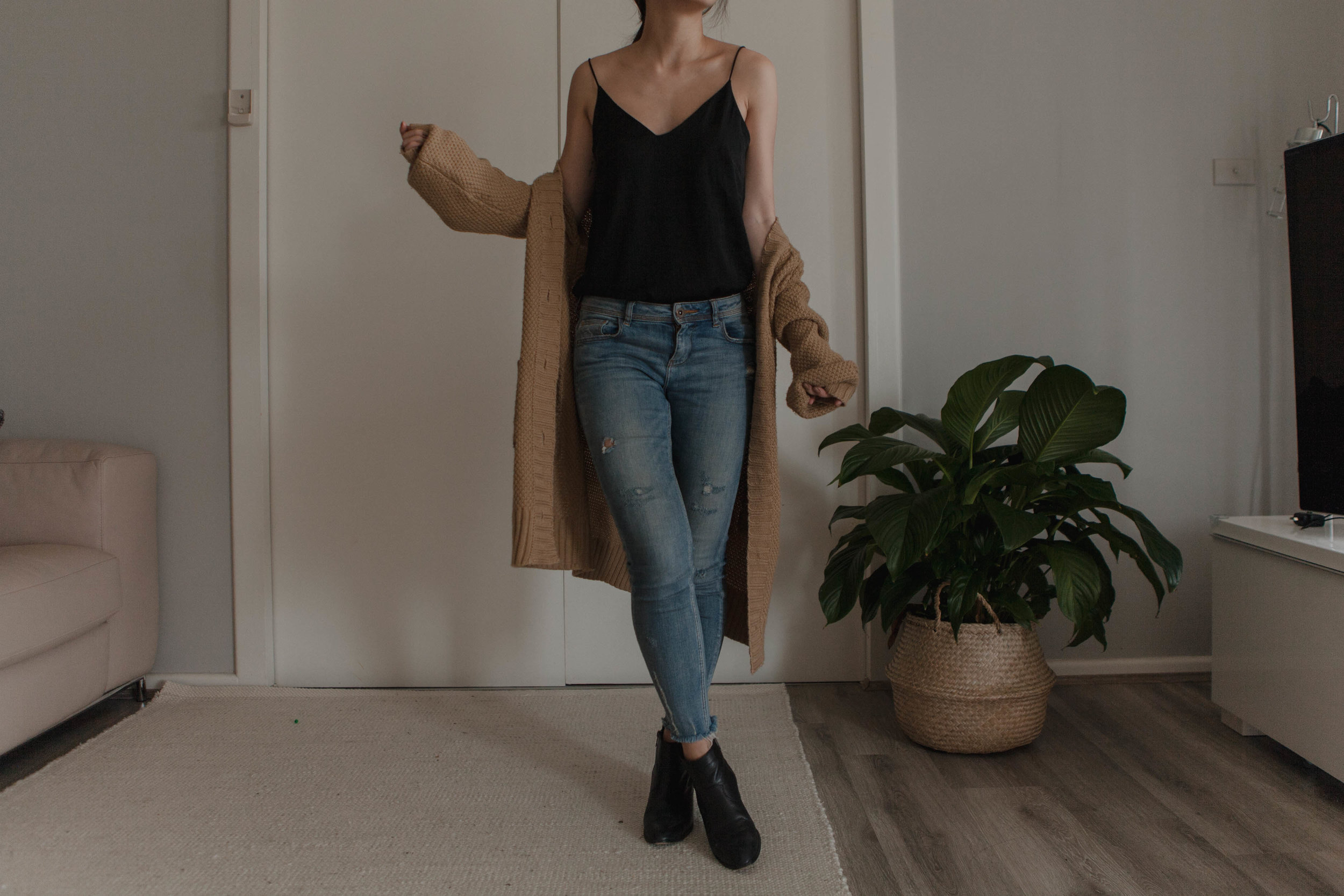 1 & 2 - blue jeans & 'silk' cami