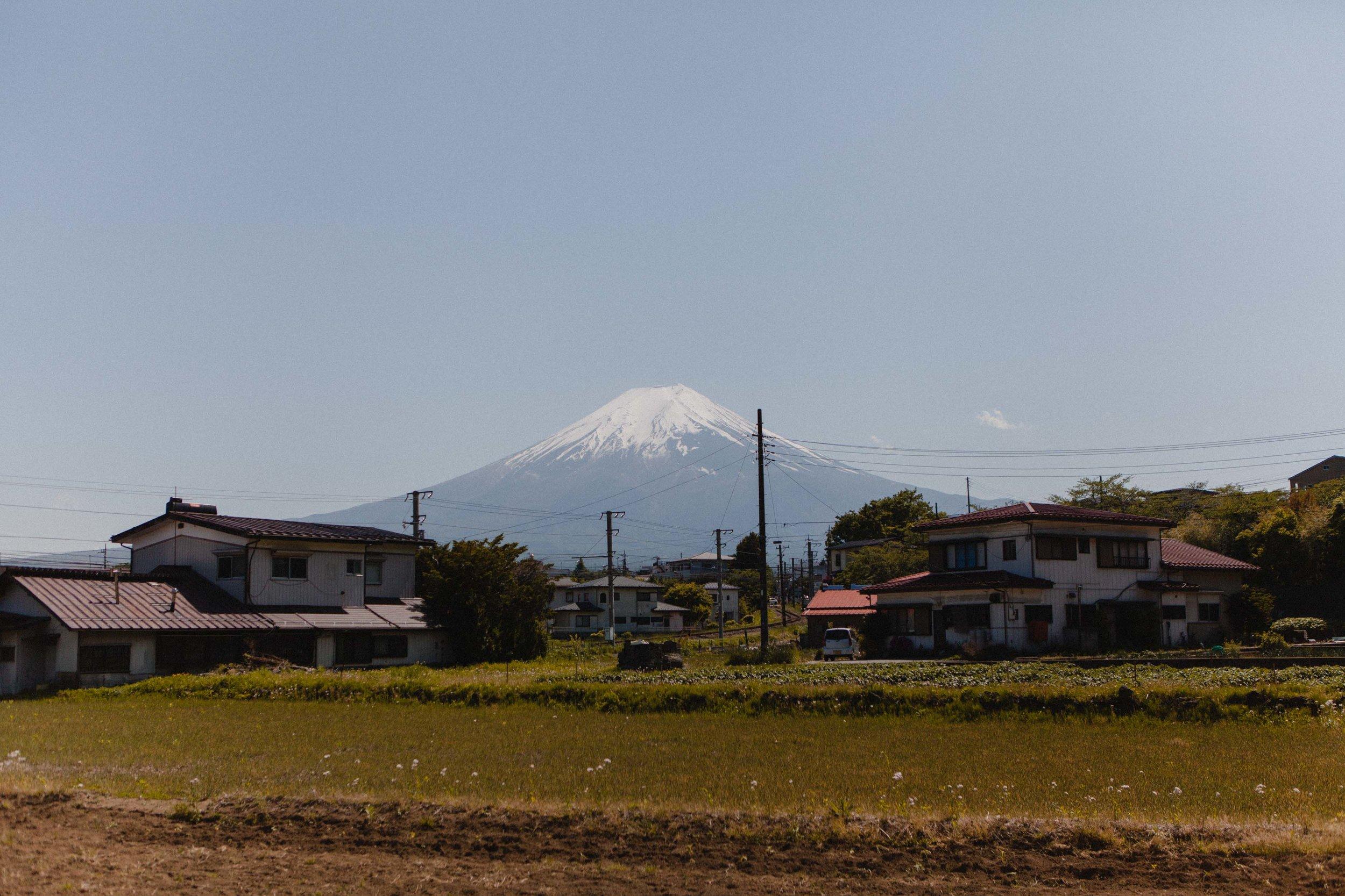 The view of Mt. Fuji walking to Shimoyoshida Station