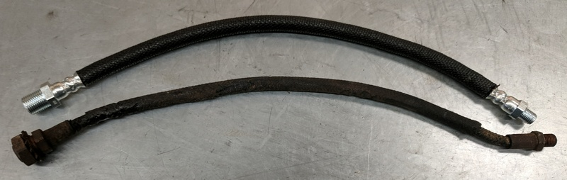 Old (bottom) vs New (top) brake hose