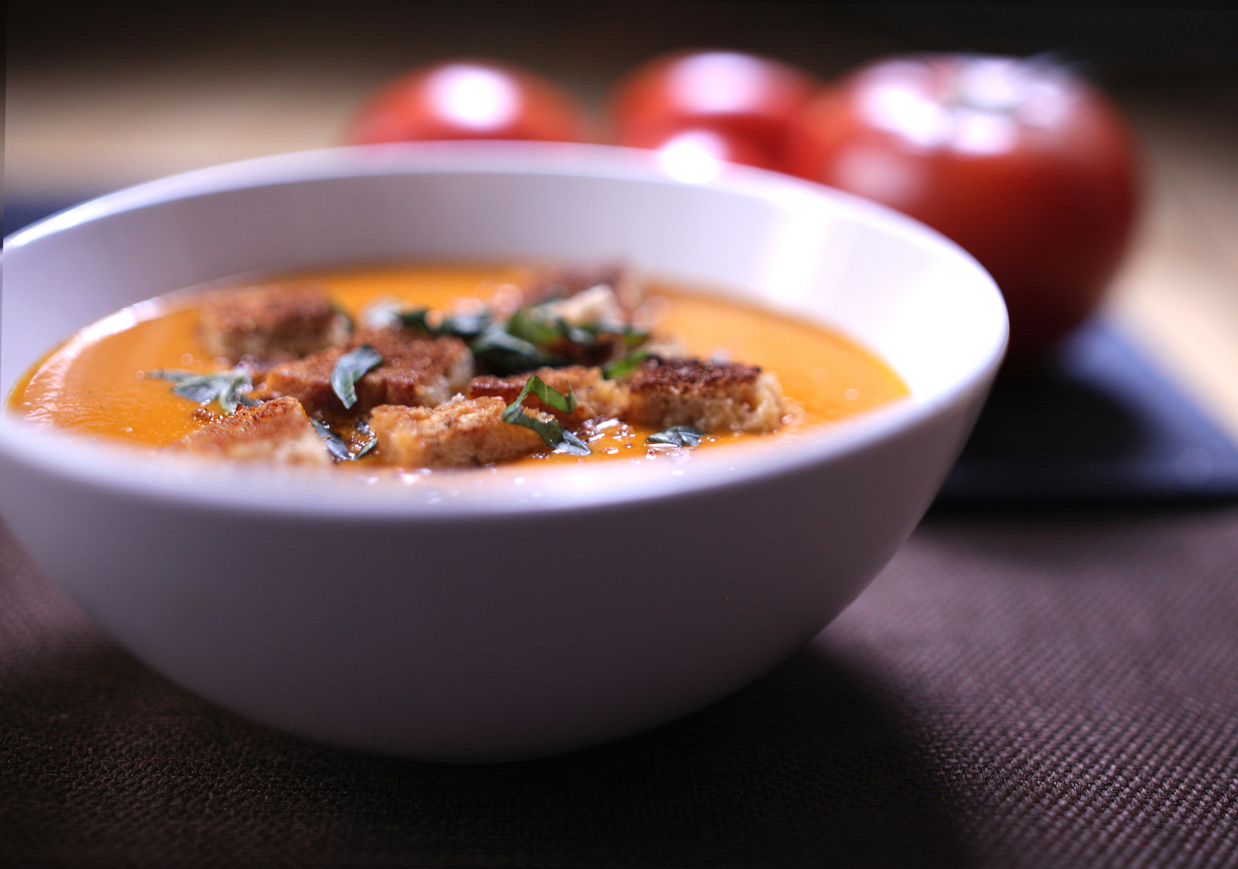 Cream of Tomato Soup with Homemade Croutons