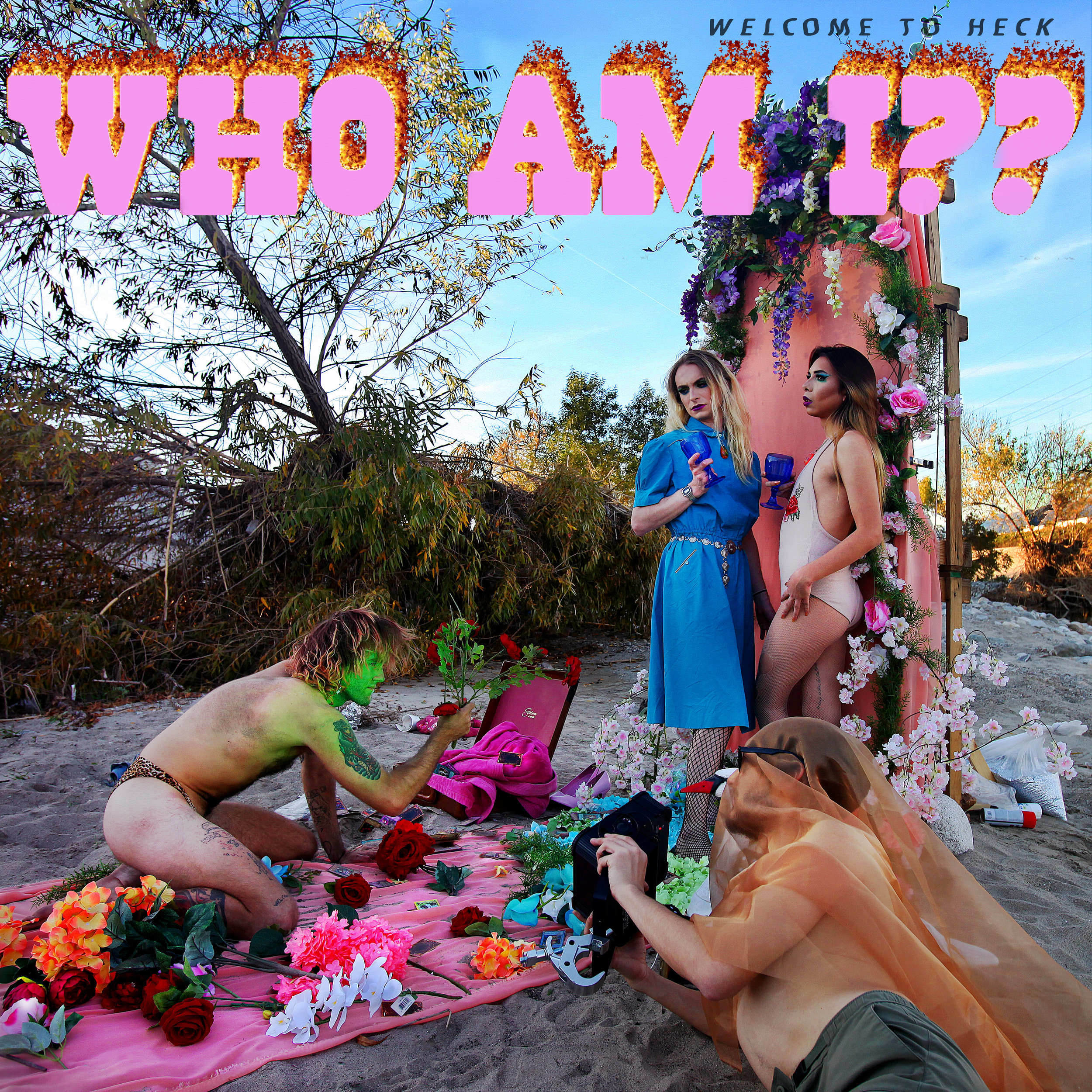 """ WHO AM I?? "" is the cri de cœur of HECK. - Composed between 2016-2018, the third studio album by Los Angeles-based WELCOME TO HECK is a romantic incantation from dark night of the soul. WHO AM I?? fuses its aesthetic from the lexicon of early rock & roll, 1970s No-Wave Punk, textural avant-garde, and the wild prose of American Beat poets. HECK makes a statement of gender fluidity and protests materialism and decadence within the raw and rubbed-wrong confines of tape format recording.Available 4.27.19 to and from, of all and forevermore, the great streamer platformants and radiophite sites today and NOW! for your perennial entertainment."