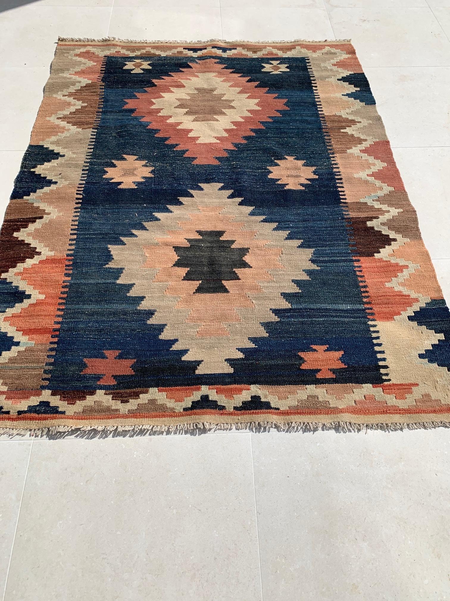 Indigo Aztec Rug $50 each. Qty 1