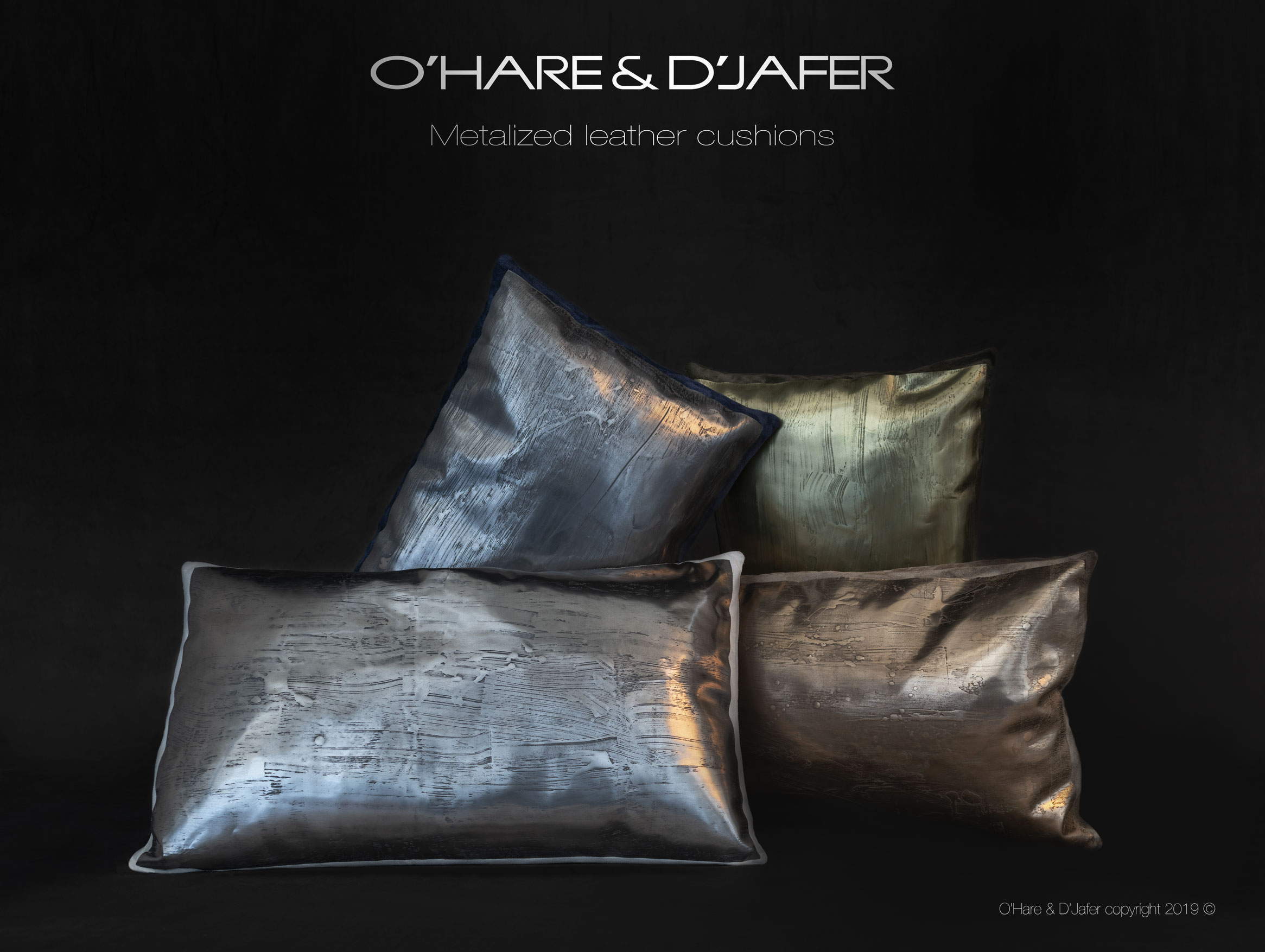 Monumental cushions with metal veneer.