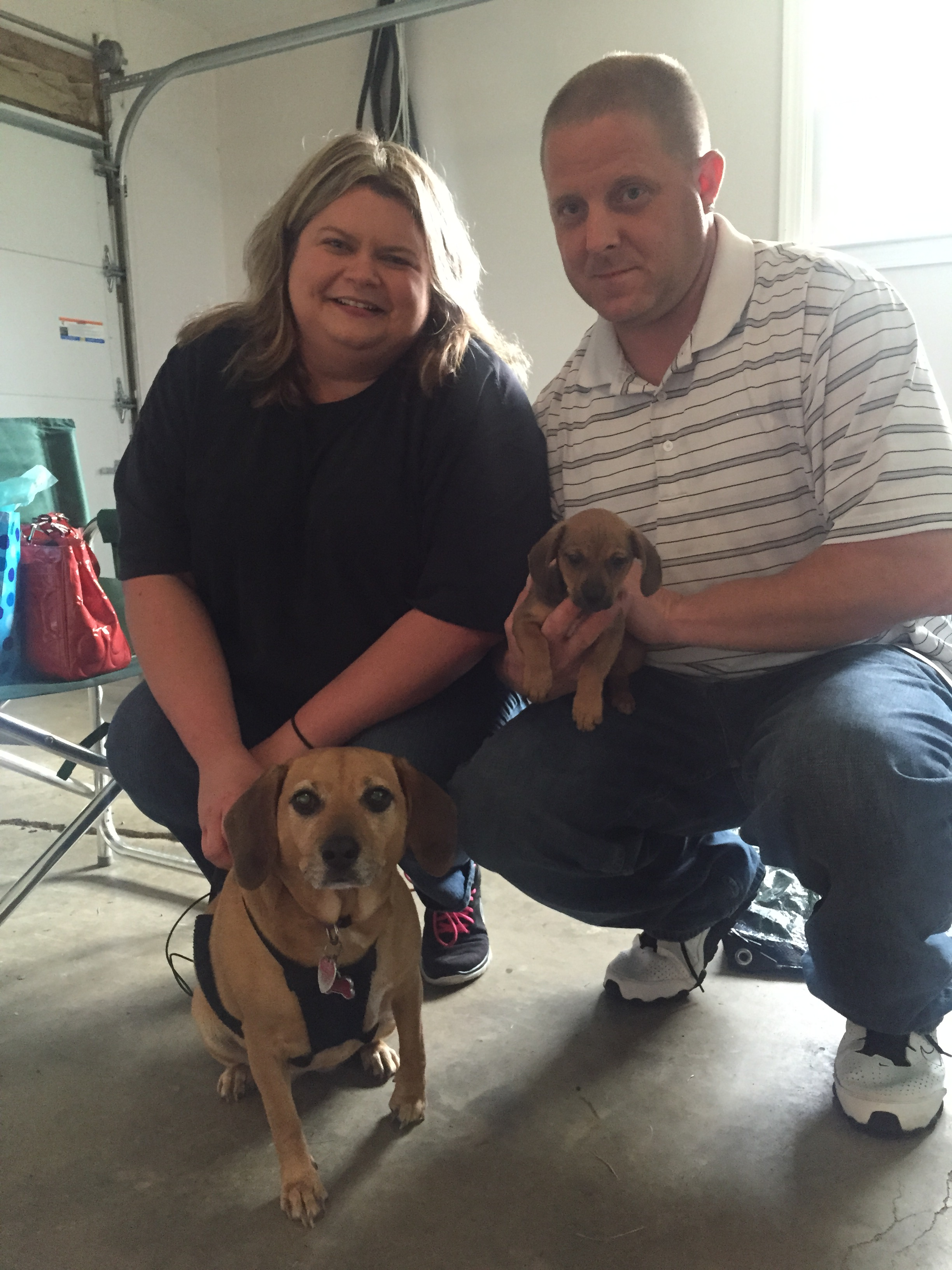 Kelly & Charlie added Mighty to their family with fur sister Roxie to show him the ropes!