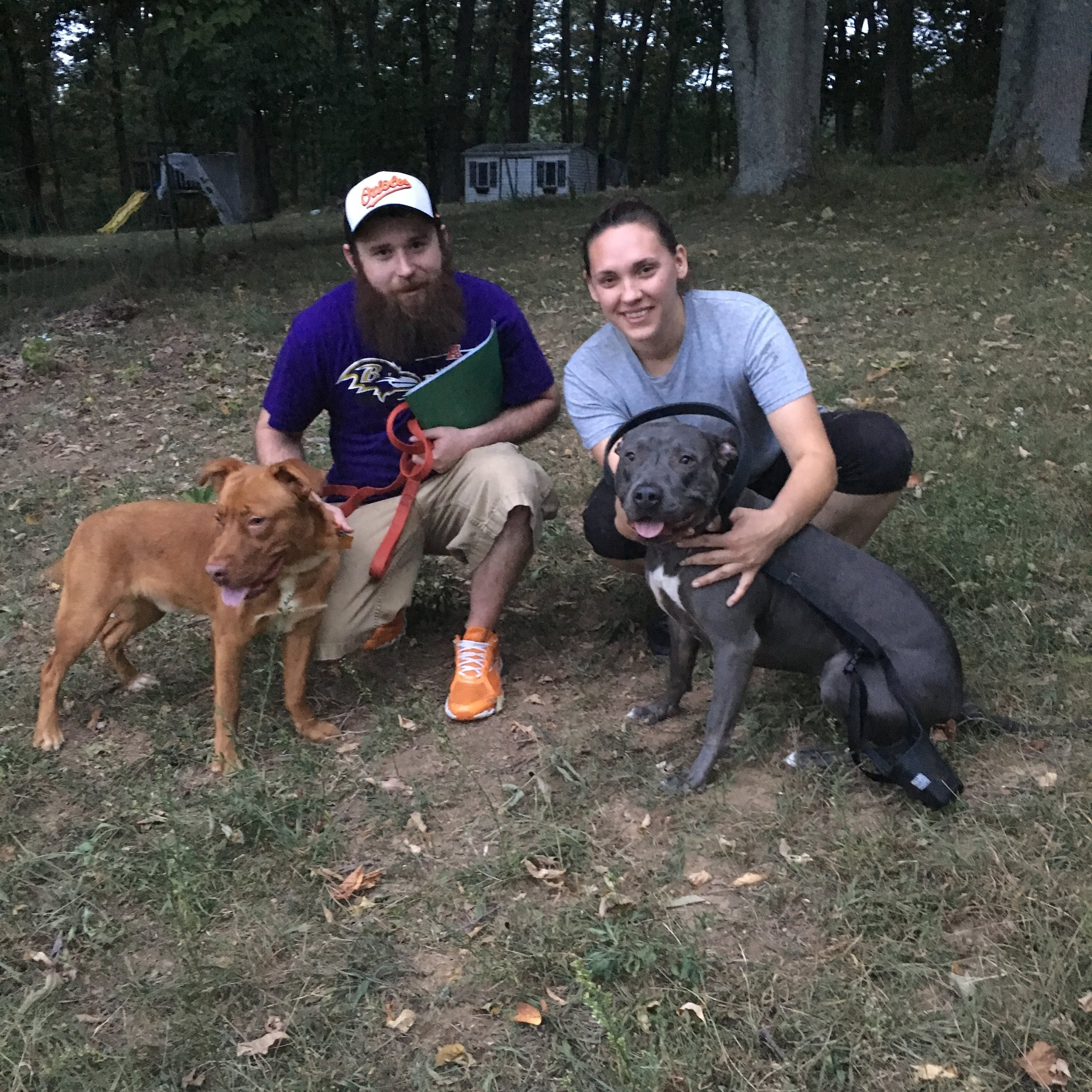 The Sluss' added Kirby (left) to their family when he arrived to Maryland!