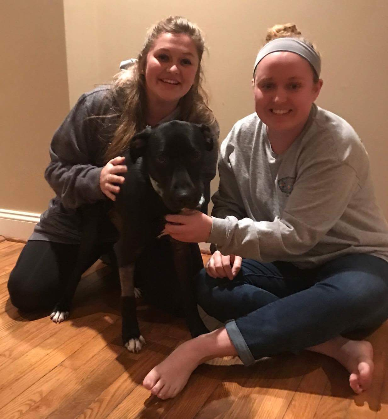 Dasher headed home with his new mom, Danielle, and their friend, Micaela!