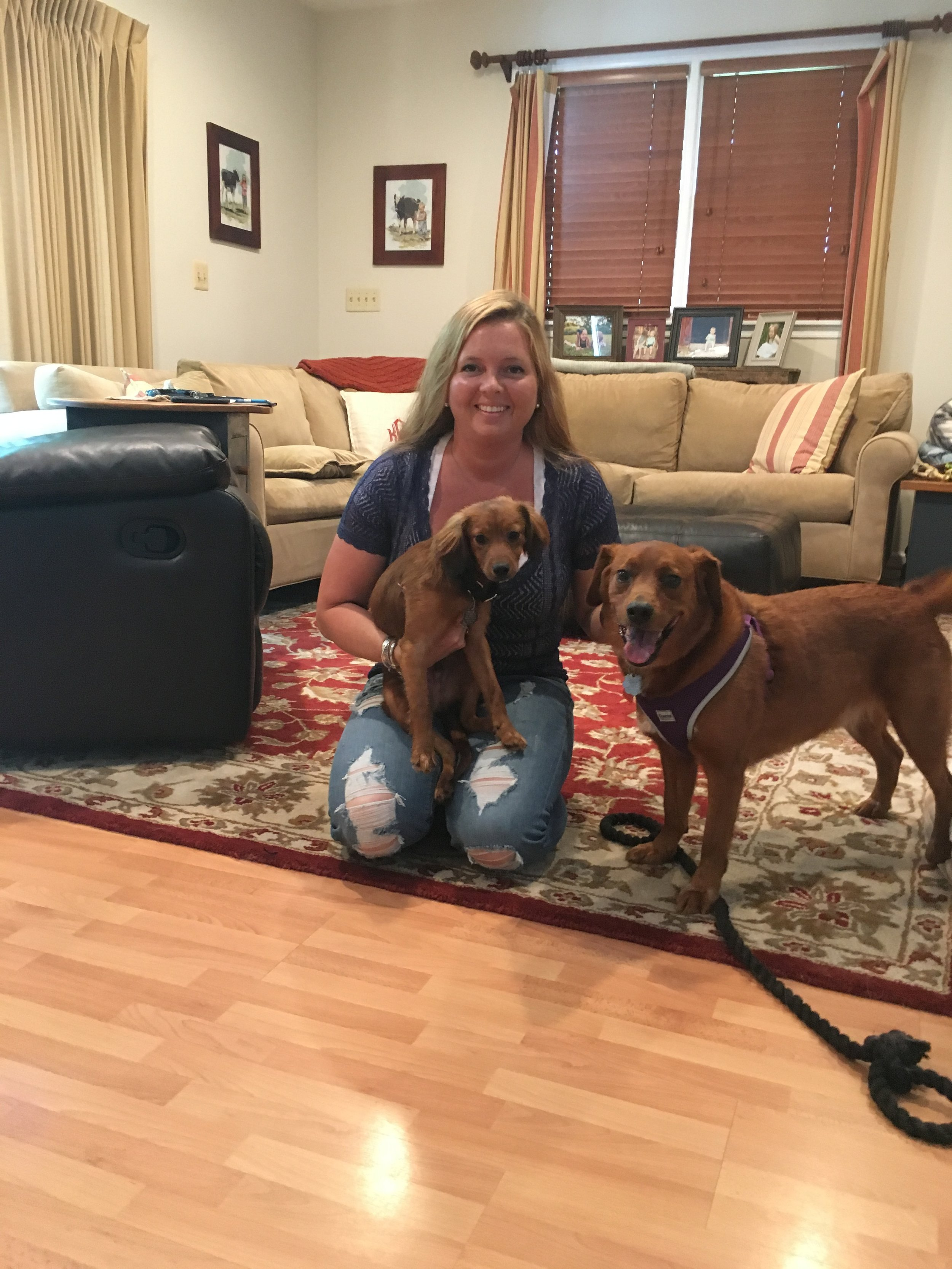 Bailey (now Hashbrown, left) with his new mom and fur brother!