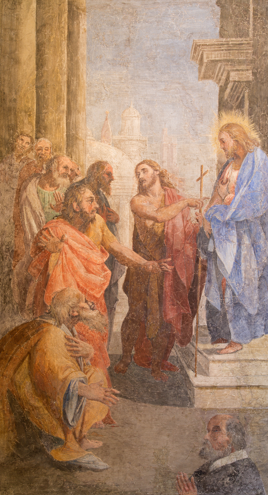 John the baptist shows the Christ by Leonardo Milanese from 16. cent. in St. John the Baptist chapel of church San Pietro in Montorio. Credit:   Renata Sedmakova / Shutterstock.com