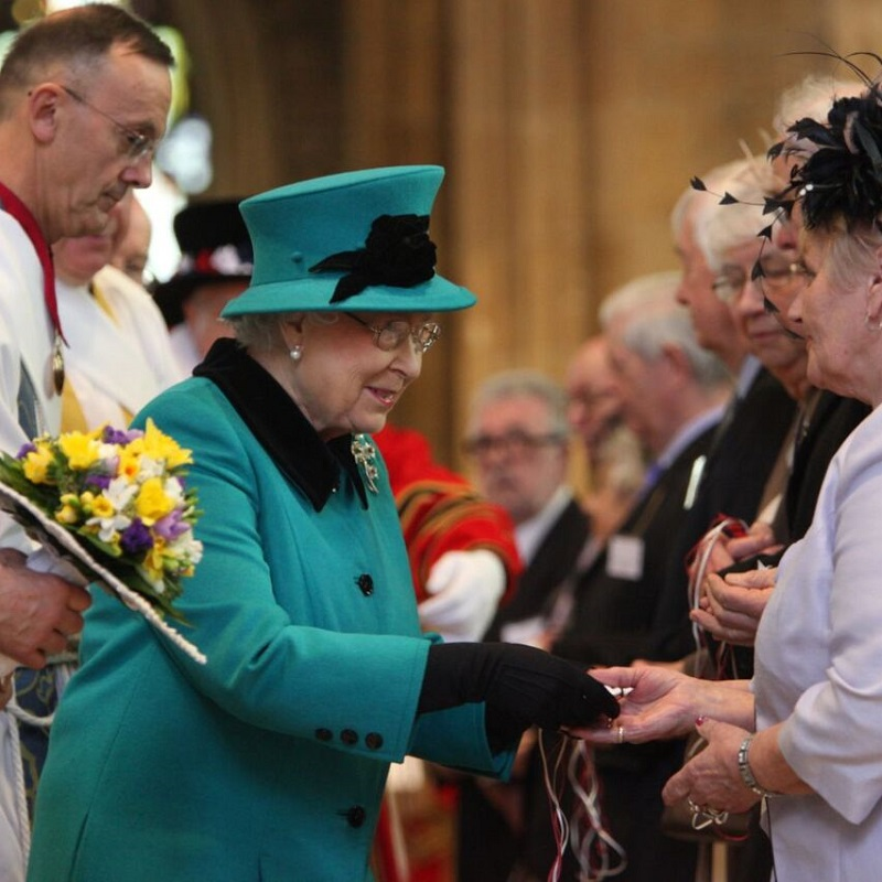Her Majesty The Queen at Sheffield Cathedral for The Royal Maundy 2015.