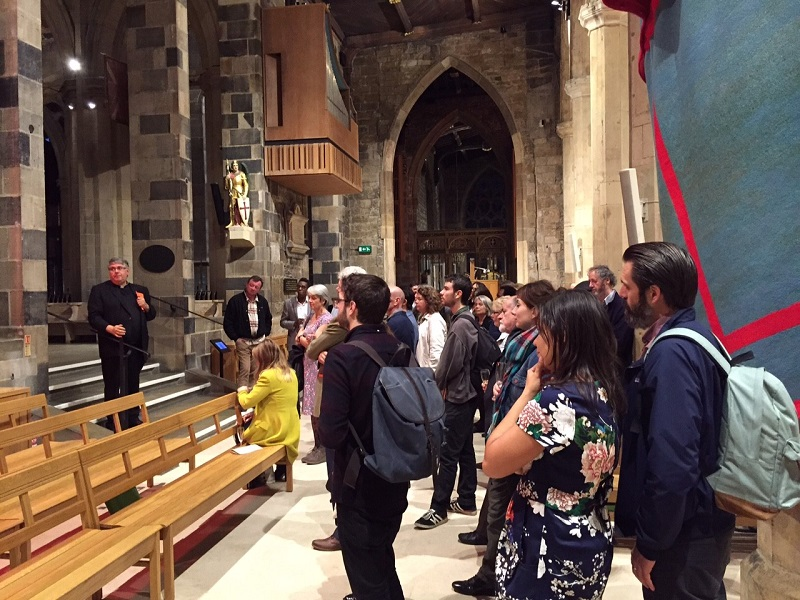 Peter Bradley, Dean of Sheffield Cathedral, gives a guided tour