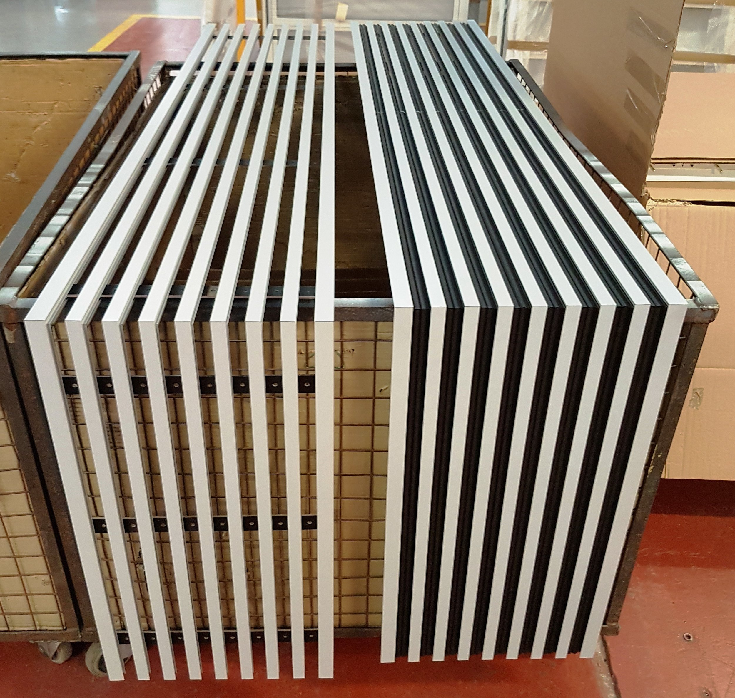 The slot diffusers manufactured to the bespoke specification, ready to be sent to site and installed.