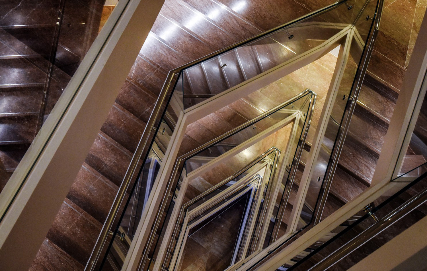 A view of the new diagonal staircase in the National Gallery of Art's East Building. (Bill O'Leary/The Washington Post)