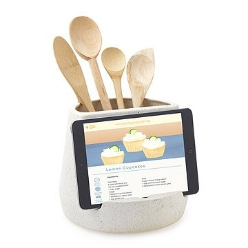 This   Kitchen Utensil and Tablet Holder   is simply genius! Beautifully handmade in Pittsburgh, Pennsylvania, the white stoneware utensil holder includes a specially-designed notch for your tablet. If you are like me, nothing is more aggravating than trying to find the right spot to put your tablet when you are following online recipes. This fun and functional item would also make an excellent gift!