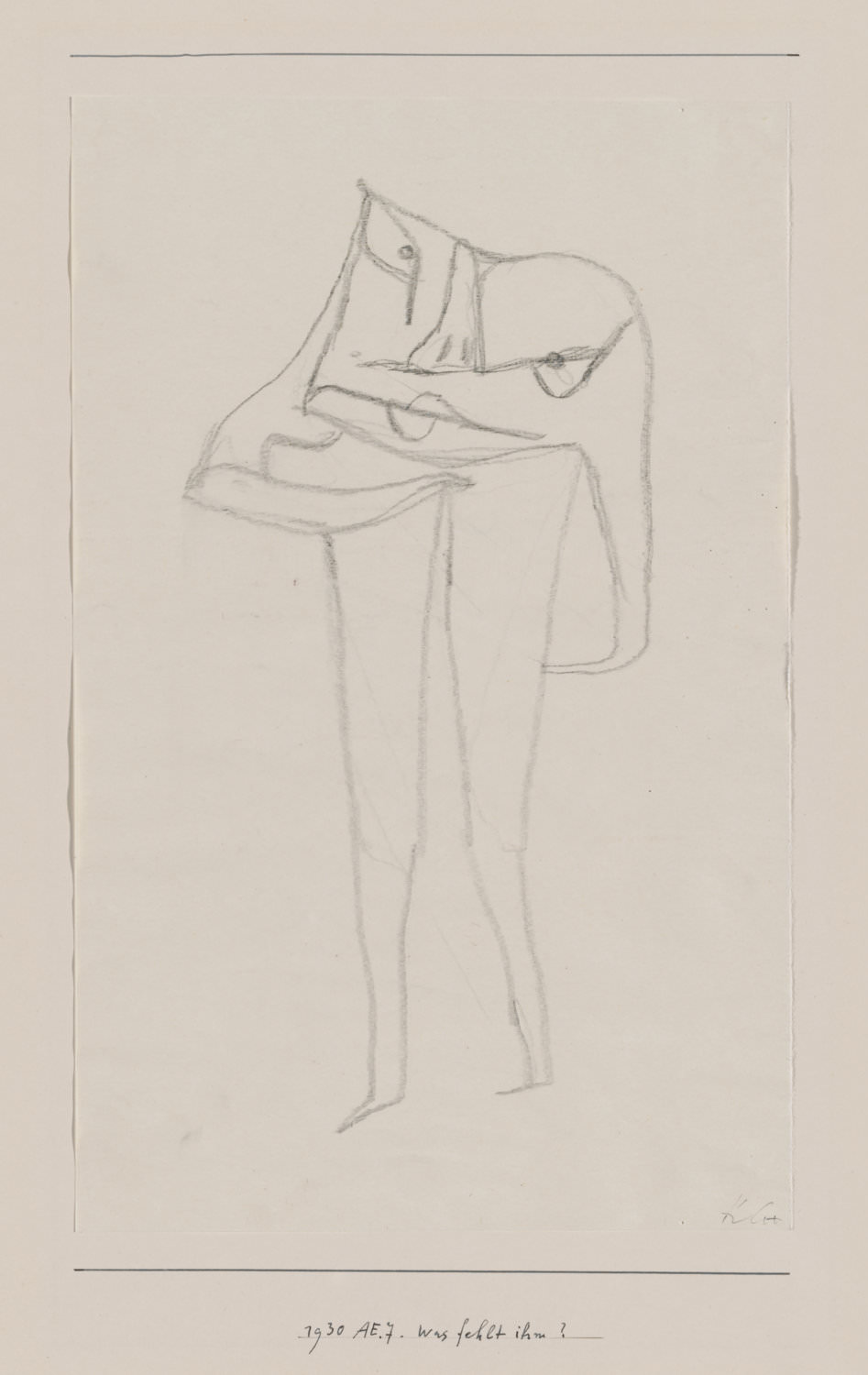 Paul Klee,  was fehlt ihm? , 1930, 267, w hat's the Matter with Him? , pencil on paper on cardboard, 32,9 x 20,9 cm, Zentrum Paul Klee, Bern © Zentrum Paul Klee, Bern, Bildarchiv