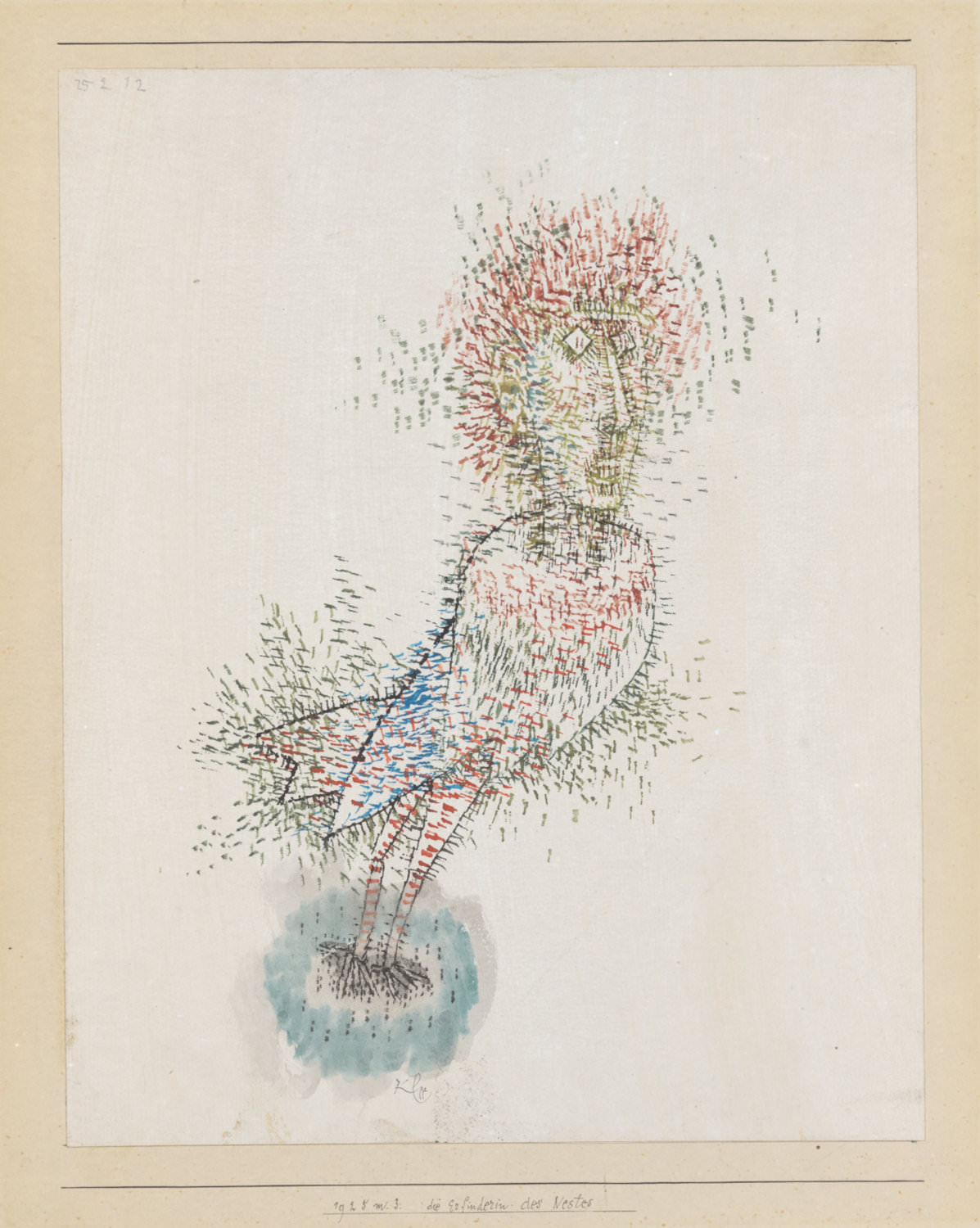 Paul Klee,  die Erfinderin des Nestes , 1925, 33, The Inventress of the Nest watercolour on primed paper on cardboard, 27,6 x 22 cm, Zentrum Paul Klee, Bern, Leihgabe aus Privatbesitz © Zentrum Paul Klee, Bern, Bildarchiv