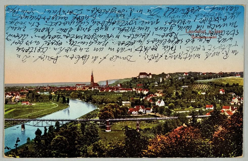 Ansichtskarte von Paul Klee an Lily Klee (Landshut a. Isar, Gesamtansicht), 9.5.1916, Zentrum Paul Klee, Bern, Schenkung Familie Klee © Zentrum Paul Klee, Bern, Bildarchiv