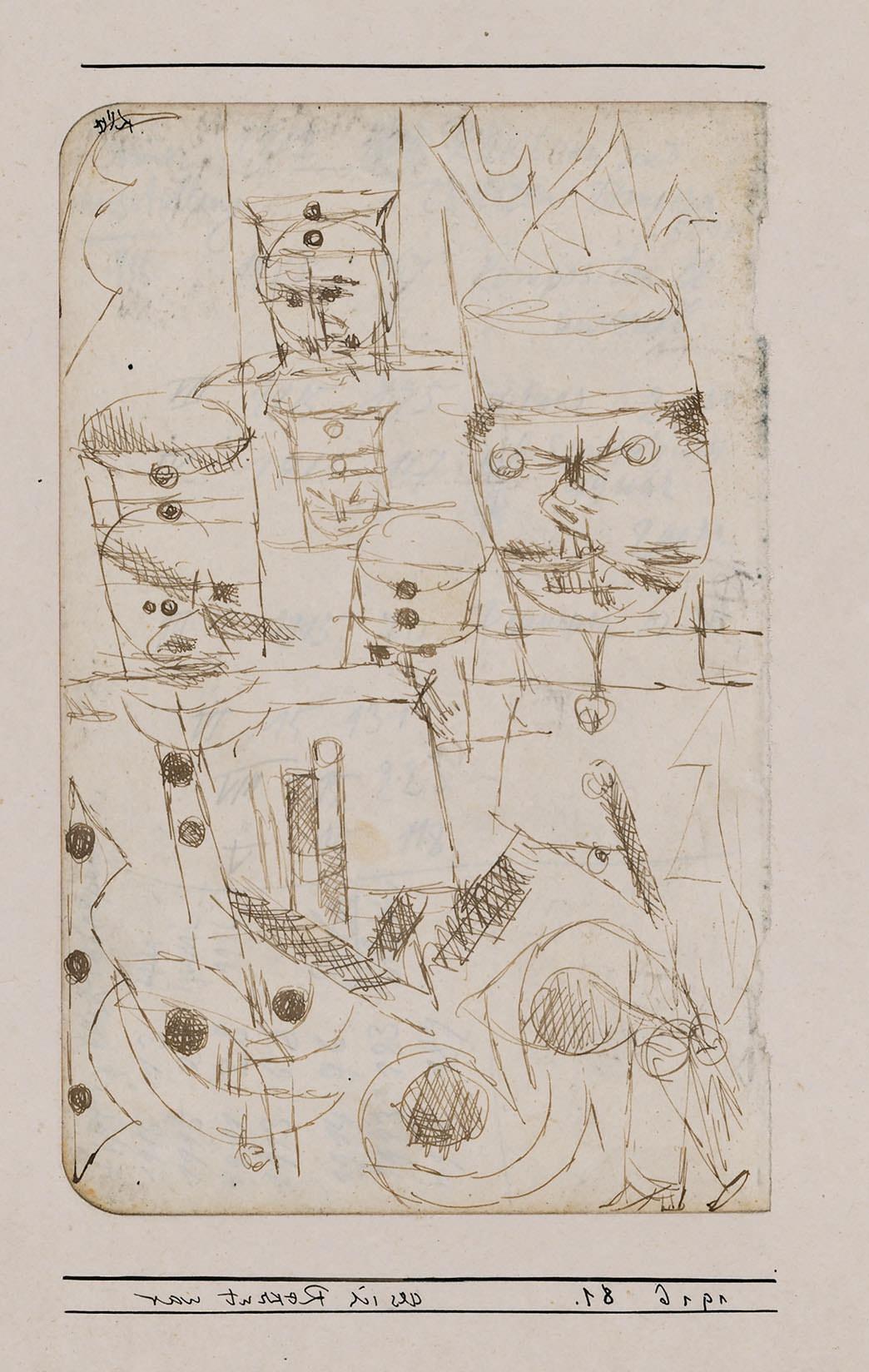 Abb.11 Paul Klee, als ich Rekrut war, 1916, 81 , Feder auf Papier auf Karton , 17,3 x 11 cm (s. Abb. 9), seitenverkehrt, Zentrum Paul Klee, Bern, Schenkung Livia Klee ©Zentrum Paul Klee, Bern, Bildarchiv