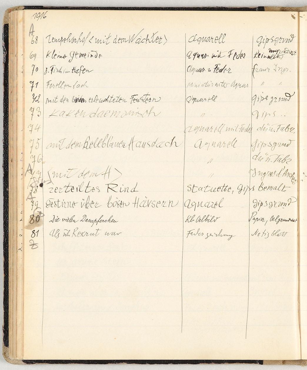 Abb.14 Paul Klee, Œuvre-Katalog 1883-1918 (Abschrift), 1916, 68-81 [S. 197], Zentrum Paul Klee, Bern ©Zentrum Paul Klee, Bern, Bildarchiv