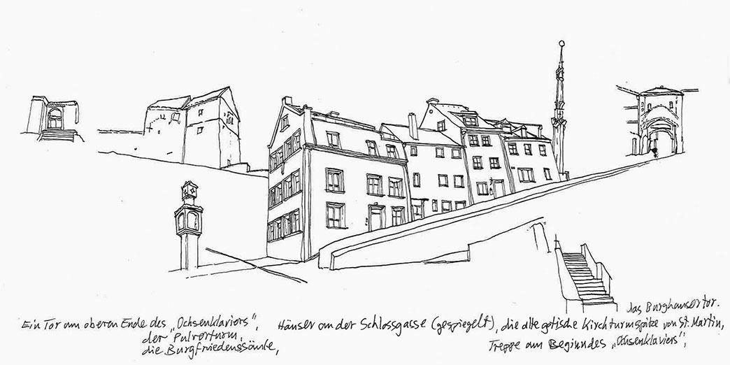 Abb.25 Joachim Jung, Architekturstudie beim »Ochsenklavier« in Landshut, 2012, Federzeichnung ©Joachim Jung
