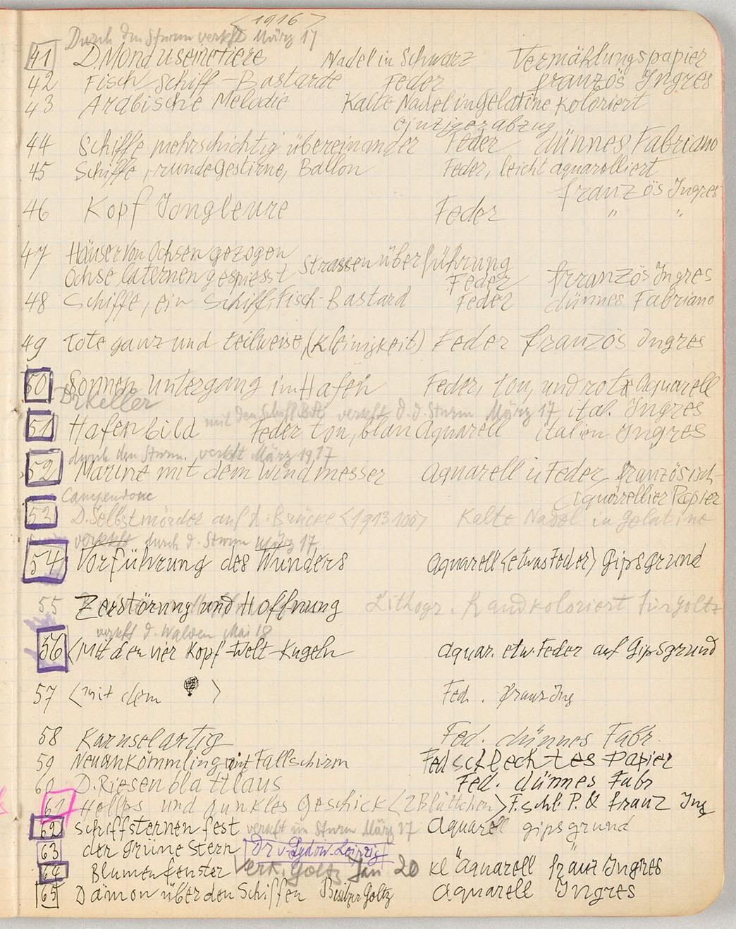 Abb.31 Paul Klee, Œuvre-Katalog 1883-1917, 1916, 41-65 [S. 125], Zentrum Paul Klee, Bern  © Zentrum Paul Klee, Bern, Bildarchiv