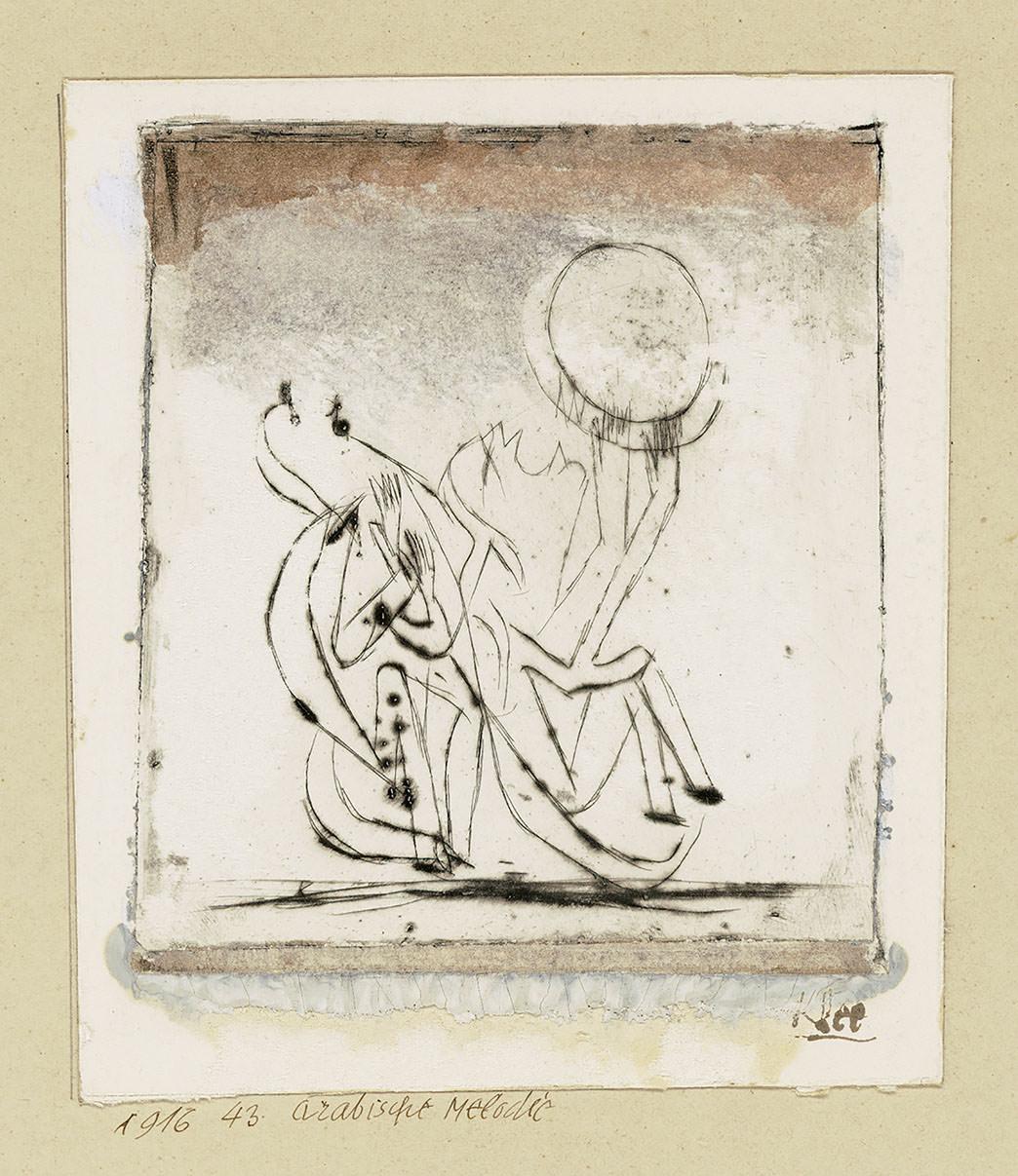 Abb.44 Paul Klee, Arabische Melodie, 1916, 43 , Kaltnadel, koloriert 13,7 x 12 cm , Museum Sammlung Rosengart, Luzern © Zentrum Paul Klee, Bern, Archiv